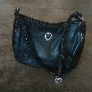 Brighton Black & Brown Leather Shoulder Bag